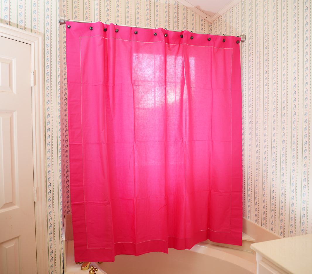Shower Curtain. Pink Peacock colored