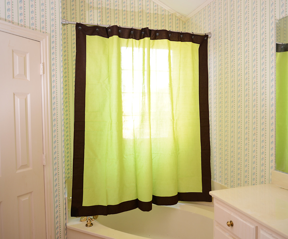 Shower Curtain Multicolored Hot Green & Brown