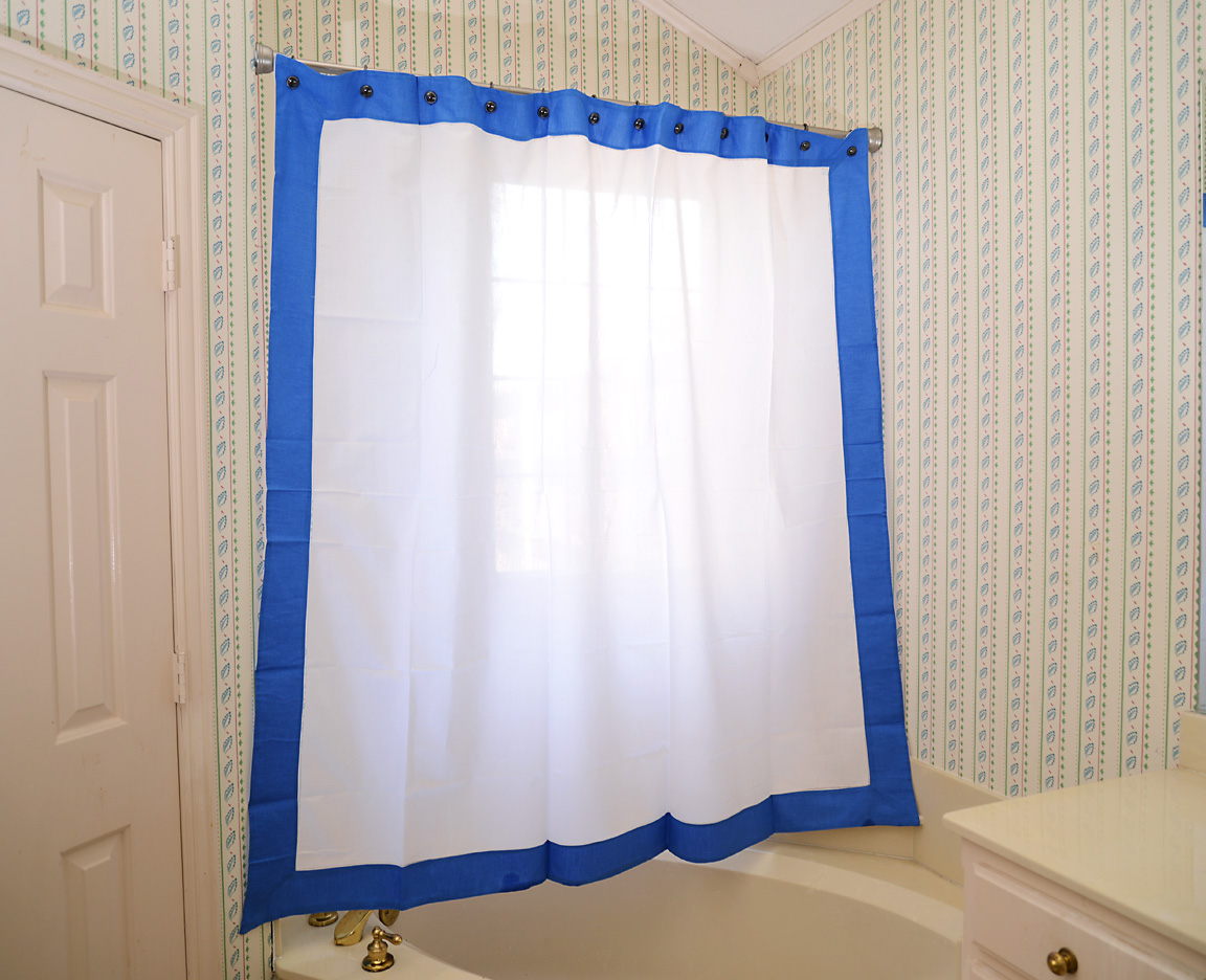 Shower Curtain French Blue colored trimmed